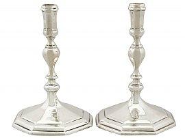 Britannia Standard Silver Tapersticks - Antique Queen Anne