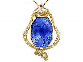 36.50 ct Ceylon Sapphire and 0.32 ct Diamond, 18 ct Yellow Gold Pendant - Vintage Circa 1950