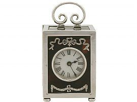 Sterling Silver & Tortoiseshell Boudoir Clock - Antique George V