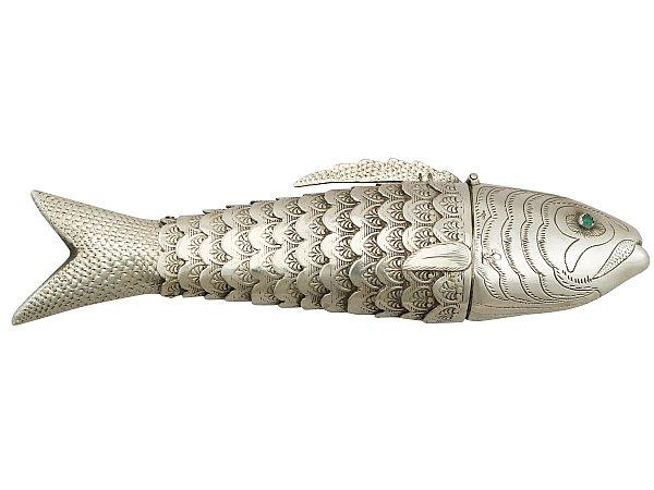 Dutch Silver 'Fish' Spice Box - Antique Circa 1890