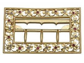 0.18 ct Diamond and 0.19 ct Ruby, 20 ct Yellow Gold Belt Buckle - Antique Victorian