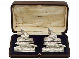 Set of Four Sterling Silver Menu / Card Holders by Garrard & Co Ltd - Antique George V