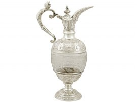 Sterling Silver and Glass Claret Jug - Antique Victorian (1897)