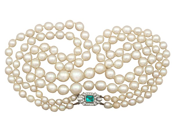 6cb8235914523 Double Strand Pearl Necklace with 18 ct White Gold and 0.43 ct Diamond  Clasp - Art Deco Style - Antique and Vintage