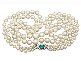 Double Strand Pearl Necklace with 18 ct White Gold and 0.43 ct Diamond Clasp - Art Deco Style - Antique and Vintage