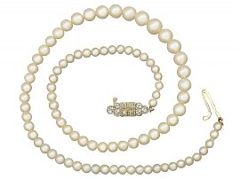 Single Strand Pearl Necklace with 0.56 ct Diamond and 15 ct Yellow Gold Clasp - Antique and Vintage