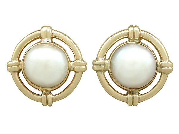 67b3e89a3 Mabe Pearl Earrings Yellow Gold | Vintage Jewellery | AC Silver