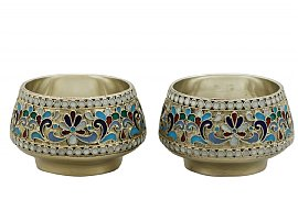 Russian Silver and Polychrome Cloisonné Enamel Salts - Antique Circa 1920