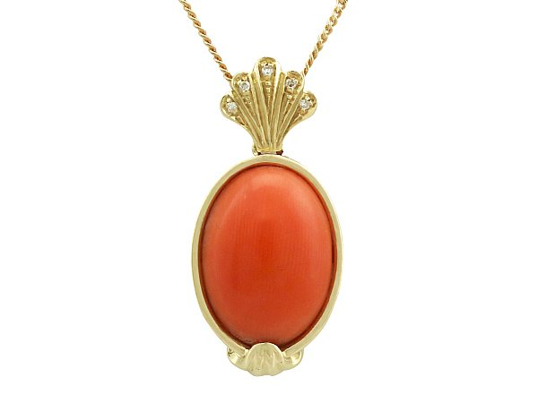 Vintage coral pendant 1950s necklaces for sale ac silver 727 ct coral and diamond 18 ct yellow gold pendant vintage circa 1950 mozeypictures Image collections