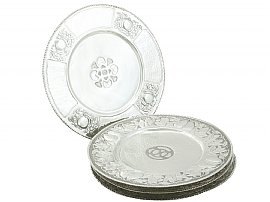 Set of Four Sterling Silver Dinner Plates - Antique Edwardian (1902)