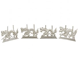 Chinese Export Silver 'Dragon' Card/Menu Holders - Antique Circa 1890