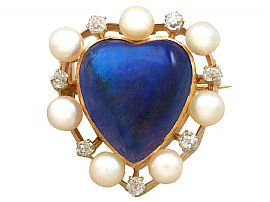 3.98 ct Labradorite and Seed Pearl, 0.30 ct Diamond and 9 ct Yellow Gold Brooch - Antique Victorian