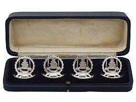 Sterling Silver Royal Artillery Menu Holders - Antique George V (1932)