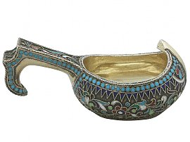 Russian Silver Gilt and Polychrome Cloisonne Enamel Kovsh - Antique Circa 1900