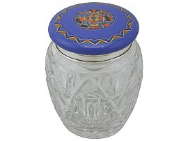 Sterling Silver, Cut Glass and Enamel Biscuit Barrel - Antique George V (1925)