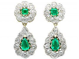 3.18ct Emerald and 3.23ct Diamond, 12ct Yellow Gold Drop Earrings - Antique Victorian