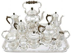 Sterling Silver Ten Piece Tea and Coffee Service - Antique George V (1930)