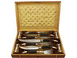 Sterling Silver, Electroplated Silver, Steel and Antler Carving and Fish Server Set - Antique Victorian (1887)