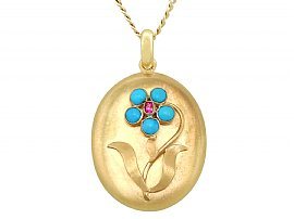 0.95ct Turquoise and Ruby, 22ct Yellow Gold Locket - Antique Victorian
