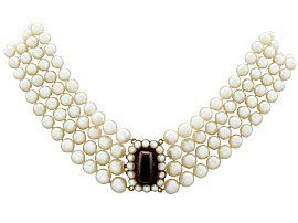 Four Strand Cultured Pearl Choker with 14.12ct Garnet and Pearl, 10ct Yellow Gold Clasp - Antique and Vintage