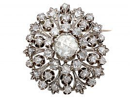 3.48ct Diamond and 15ct Yellow Gold Brooch - Antique Victorian
