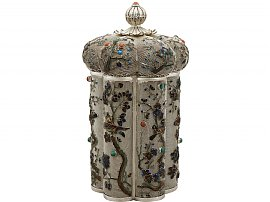 Chinese Export Silver and Enamel Box / Canister - Antique Circa 1900