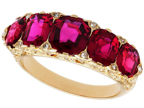 3.54ct Ruby and Diamond, 18ct Yellow Gold Dress Ring - Antique Victorian