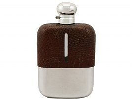 Large Sterling Silver and Crocodile Skin Hip Flask - Antique George V (1925)