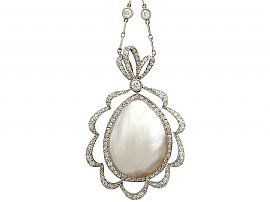 Blister Pearl and 2.65ct Diamond, Platinum Necklace - Antique Circa 1910