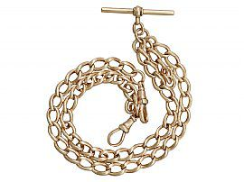 9ct Rose Gold Double Albert Watch Chain with T Bar - Antique Circa 1900