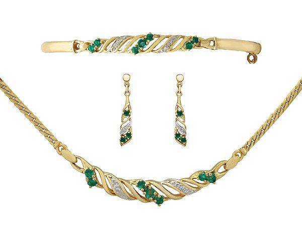 Emerald And Gold Jewellery Set For Sale Ac Silver