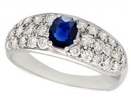 0.70ct Sapphire and 1.95ct Diamond, 18ct White Gold Dress Ring - Vintage Circa 1970