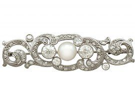 2.30ct Diamond and 14ct White Gold, Platinum Set Brooch - Antique Circa 1920