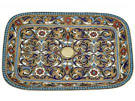 Russian Silver Gilt and Polychrome Cloisonne Enamel Tray - Antique Circa 1890