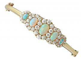 3.92ct Opal and 3.25ct Diamond, 18ct Yellow Gold Bangle - Antique Victorian