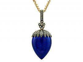 Lapis Lazuli and 1.02ct Diamond, 18ct Rose Gold Locket / Pendant - Antique French Circa 1880