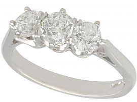 1.45 ct Diamond and Platinum Trilogy Ring - Antique and Contemporary