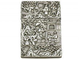Chinese Export Silver Card Case - Antique Circa 1870