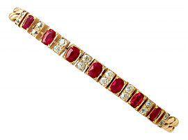3.30ct Ruby and 1ct Diamond, 18ct Yellow Gold Line Bracelet - Antique Circa 1930