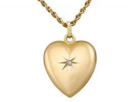 Diamond and 9ct Yellow Gold 'Heart' Locket - Antique Victorian