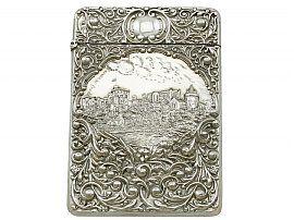 Sterling Silver Castle Top Card Case - Antique Edwardian (1903)