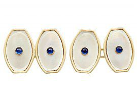 0.12ct Sapphire and Mother of Pearl, 14ct Yellow Gold Cufflinks - Antique Circa 1920