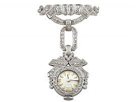 1.50ct Diamond and Platinum Ladies Cocktail Fob Watch - Art Deco - Vintage Circa 1940