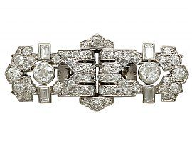 2.58ct Diamond and Platinum, 18ct White Gold Double Clip Brooch - Art Deco - Antique French Circa 1920