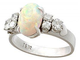 1.42ct Opal and 0.84ct Diamond, 18ct White Gold Dress Ring - Vintage Circa 1950
