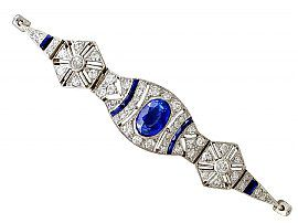 2.59ct Sapphire and 1.72ct Diamond, 18ct White Gold Bracelet - Art Deco - Antique French Circa 1920