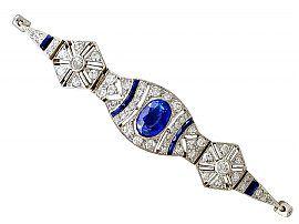 2.59ct Sapphire and 1.72ct Diamond, 18ct White Gold Bracelet - Art Deco - Antique French Circa 1920