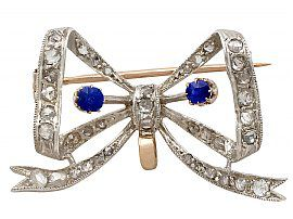 0.45ct Sapphire and 0.93ct Diamond, 15ct Yellow Gold Bow Brooch - Antique French Circa 1890