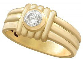 0.32ct Diamond and 18ct Yellow Gold Dress Ring - Vintage French Circa 1950