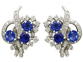 2.60ct Sapphire and 2.73ct Diamond, 18ct White Gold Stud Earrings - Vintage Circa 1950